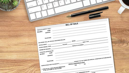 A bill of sale form for a vehicle.