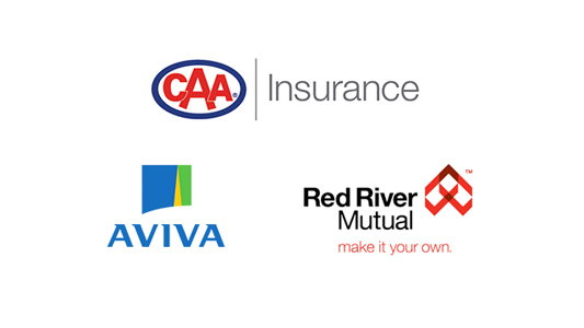 Logos for CAA Insurance, Aviva and Red River Mutual.