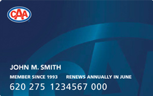 CAA Manitoba Classic membership card in blue with CAA logo in upper left hand corner.