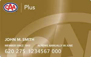 CAA Manitoba Plus membership card in gold colour, with CAA logo in upper left hand corner and word Plus in white lettering.
