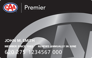 CAA Manitoba Premier membership card featuring black background and partial CAA logo rendered in silver.