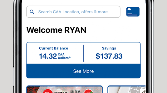 Image showing smartphone screen with words WELCOME RYAN and two boxes, one labelled Current Balance and the other labelled Savings.
