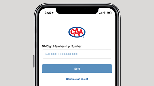Image of smartphone screen with a CAA logo in the centre and a field below it for entering a membership number, and underneath a small button labelled NEXT.