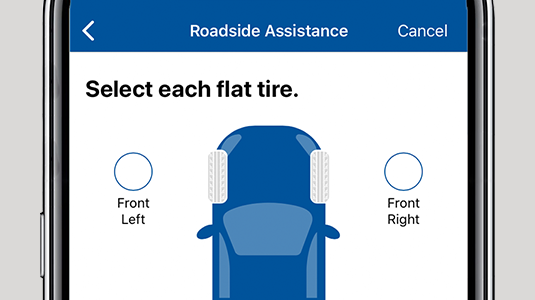 Image of a smartphone screen showing a car from above and lettering reading SELECT EACH FLAT TIRE.