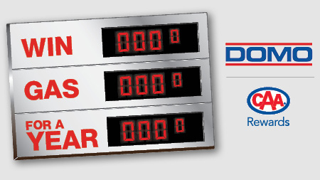 DOMO contest graphic with stylized gas pump counter, DOMO logo and CAA Manitoba logo
