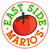 Corprorate logo with red tomato in center with red line surround and East Side letters in green with Marios letters in red