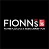 Fionn MacCools corporate logo white lettering on black background