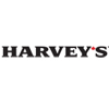 Harvey's corporate logo black lettering with small red maple leaf in apostrophe position