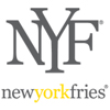 New York Fries logo initials in block black letters above black and yellow smaller lettering