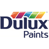 Dulux Paints corporate logo, black stylized lettering with rainbow paint swatches above