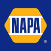 NAPA logo blue letters centered with white surround within yellow hexagon on blue background