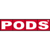 PODS logo white block letters on red squares background