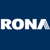 RONA logo white block letters on navy blue background