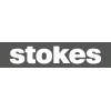 Stokes logo white lowercase letters on black background