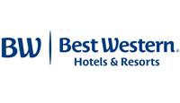 Best Western Hotels logo stylized letters BW in blue and Best Western titles in blue