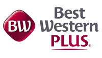 Best Western Plus logo red square with white letters, company title in grey with red Plus below
