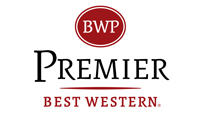 Best Western Premier logo red circle with white letters above grey title, with company name in red below