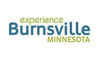 Burnsville, MN logo blue central letters with olive green wording above and below