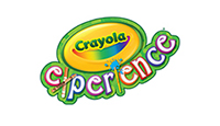Crayola Experience logo in yellow and green with green and white lettering