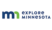 Explore Minnesota logo stylised MN in blue/green with black lettering