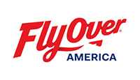 FlyOver America logo red lettering and stylized jet with America in black letters
