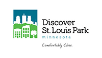 St. Louis Park logo stylized city skyline and park in blue and green with black lettering