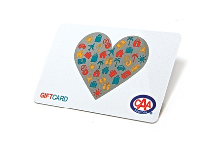 CAA Gift Card image featuring white plastic card emblazoned with stylized heart and CAA logo featuring the words gift card.