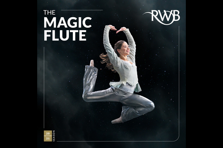 Image showing ballet dancer in costume with the words The Magic Flute in white lettering and the RWB logo in white.