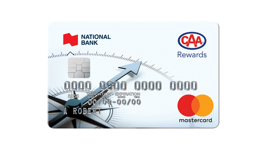 Image of sample CAA National Bank MasterCard, with words National Bank and CAA Rewards logo in upper right hand corner with MasterCard logo orange and red circles in lower right corner with name A. Robert and card number 0000000000000000 in silver lettering.