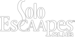 CAA Solo EsCAApes logo in white lettering with black outline.