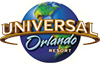 Universal Orlando logo with gold and blue lettering set on top of a globe.