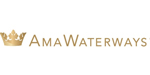 AmaWaterways logo stylized crown and lettering in gold.