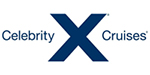 Celebrity Cruises logo featuring blue lettering and large letter X centred.
