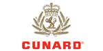 Cunard logo sylized crown with lion holding globe in centre surrounded by laural in gold with red lettering.