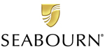 Seabourn logo black lettering with stylized gold shield above.