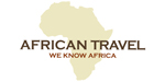 African Travel logo featuring outline of African continent in tan, with black and red lettering.