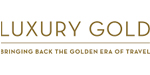 Luxury Gold logo featuring large and small block lettring in gold.