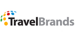TravelBrands logo featuring upper and lowercase lettering in black and grey with stylized globe represented by multi-coloured polka dots.