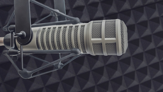 A grey microphone in a recording studio.